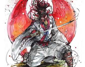 8x10 PRINT Sumi and Watercolor Year of the Bird Samurai from Chinese Zodiak