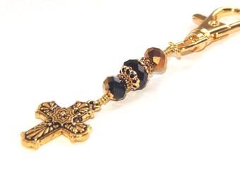 Talavera Kreuz Schlüsselbund oder Tasche baumeln Clip - Abschied Geschenk