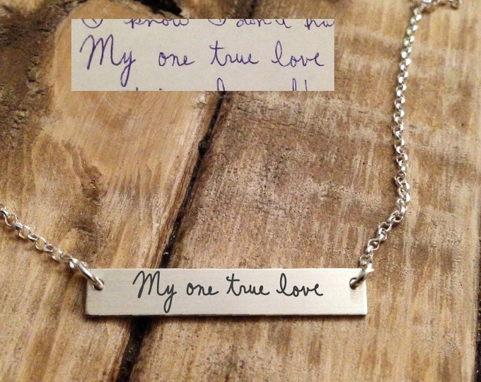 Handwritten Horizontal Bar Necklace - Actual HANDWRITING - Sterling Silver, Gold or Rose Gold - Perfect For Layering - Stocking Stuffer