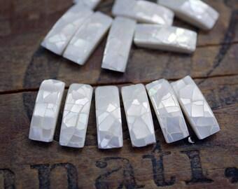 Mosaic Shell Flatback Rectangles White Mother of Pearl Rectangle Rhinestone Flatbacks (10) CL40