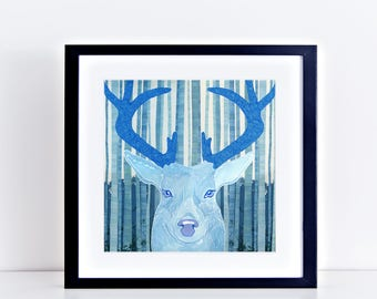 "stag print fine art limited edition print giclee 8x8"" artwork - woodland animal wall art, nursery art, woodland art, blue, stag head, deer"