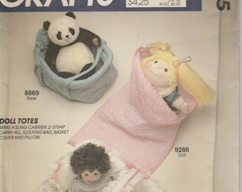 Doll Sling Pattern, Doll Basket, Sleeping Bag, Carrier  uncut  McCalls 9315