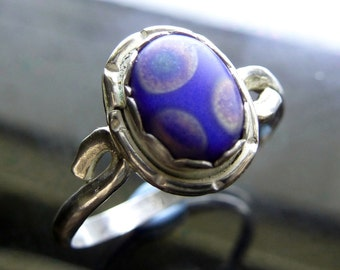 Rainbow Spotted Glass Flower Ring in twisted sterling silver size 8 polka dots on royal sapphire blue closeout sale jewelry
