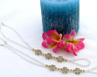 Barefoot Sandals Silver and Gold with Flowers