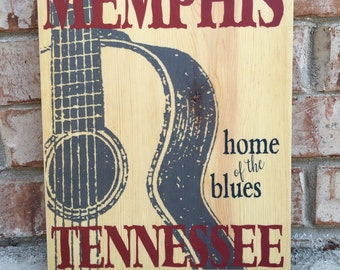 Memphis Tennessee Home of The Blues Guitar Art Print on Wood, Memphis Music Art Decor, Blues & Jazz Music Sign, Beale Street Print, BB King