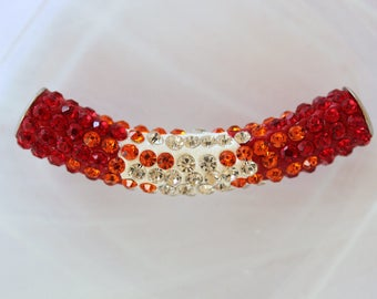metal red rhinestone Crystal charm bead