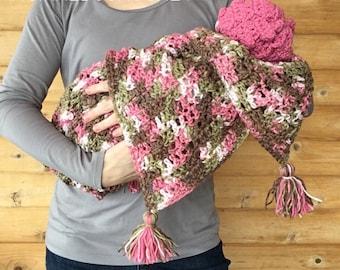 Pink Camo Recieving Blanket with tassels & Newborn + 3-6 Month Hat set - crochet - handmade - baby gift - 1 blanket + 2 hat set