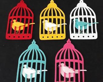 Bird Cage - bird cage with 3D bird made from felt.