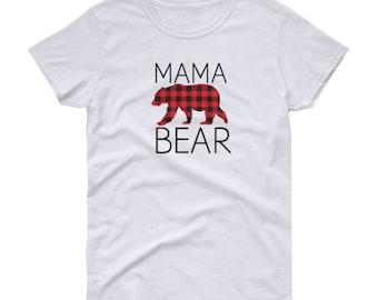 Mama Bear - Plaid T-shirt