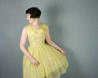 YELLOW chiffon 50s dress with FLOCKED pink flowers - 1950s Mid Century party full skirted dress - xs