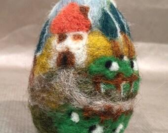 Needle felted egg, Easter egg, spring egg, Easter decor, spring decor, needle felted sheep, wool egg, Easter ornament, spring ornament