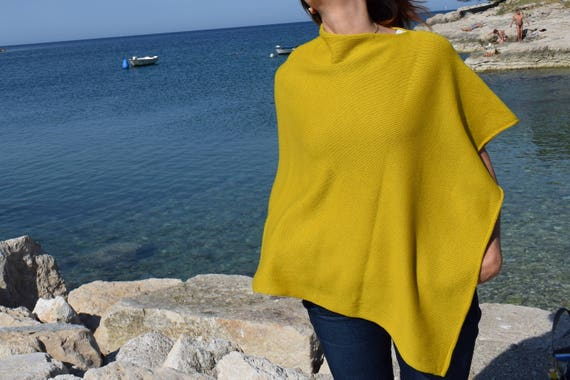 Boat Neck Womens Light Wool Poncho .Plus Size Knit Mustard Cape .Womens Knit Wrap Poncho . Mothers day gift for wife. Spring Party Vacations