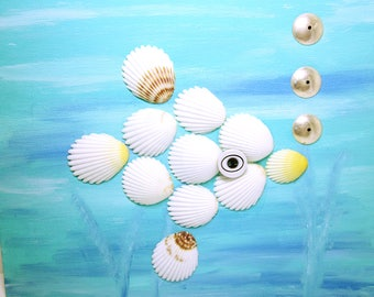 WALL ART HANDMADE Mixed Media Fish Made From Natural Sea Shells Whimsical Art For The Bathroom Or For A Child's Bedroom Humorous Shell Fish