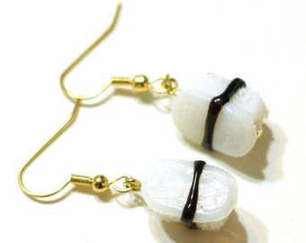 White Fish Sushi Glass Lampwork Bead Earrings - Handmade Fun Dangle Jewelry