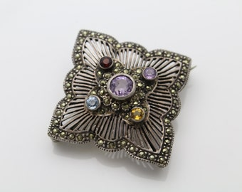 Antique Style Sterling Silver Multi Natural Gemstone and Marcasite Brooch. [889]