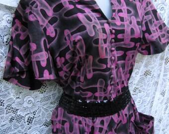 Sauvage des années 1950 des années 50 robe, robe ROCKABILLY CUT Out épaules Peg Palmer, robe de Cocktail, Robe pourpre noir, robe en coton des années 1950 des années 50,