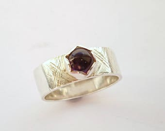 SALE   Sterling silver Amethyst thick band ring