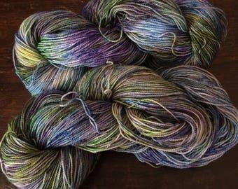 merino hand dyed yarn, superwash sock yarn, 400 yards 'swamp witch'