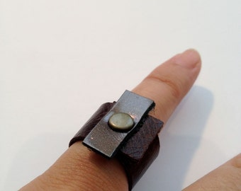Soft Leather Ring - Two Color- Wraped Around Ring