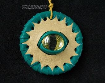 Green fantasy pendant with eye. Green fantasy necklace. Dragon eye. Fantasy jewelry. Jewelry with eye. Eye pendant.