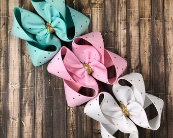 Spring and gold set! Big twisted boutique bows