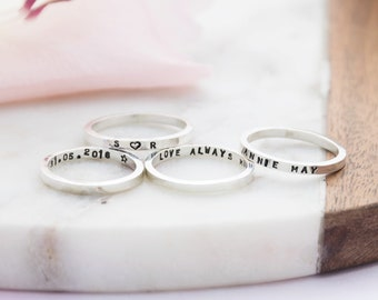 Sterling Silver Skinny Message Ring   Silver Handstamped Personalised Ring   Handmade Silver Ring   Personalised Gift for Mum   Gift for her