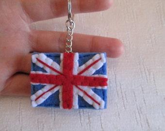 Union Jack keychain; Felt Keychain; London keychain; Stocking stuffers; Christmas Gift.