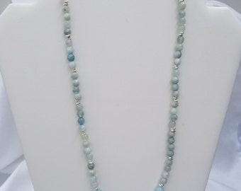 Aquamarine and Hill Tribe Silver Necklace and Earrings