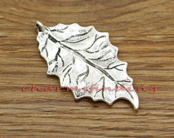 10pcs Large Leaf Pendants Tree Leaf Charms Antique Silver Tone 47x25mm cf3122