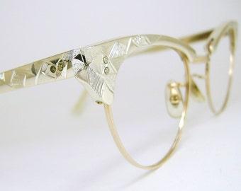 Vintage Womens 50s Silver Cat Eye Eyeglasses Frame