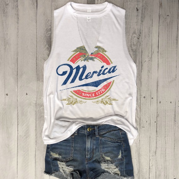 Merica Since 1776...Choker Neck Muscle Tee, Raw Edge Armholes, Vintage Concert T Shirt,Beer, Petite, 4th July, Memorial Day, Star Spangled by Etsy