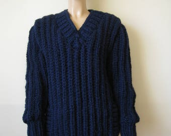 Made to Order ! New Hand Knitted Alpaca Wool Extra Thick Sweater size XL DARK - BLUE V neck