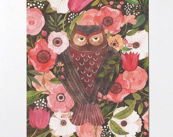 Sleepy Owl - 8x10 art print