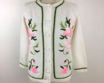 Vintage Floral Embroidered White cardigan Sweater