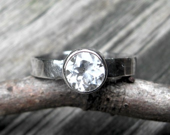 White topaz ring / sterling silver ring / engagement ring / gift for her / wedding ring / silver ring / diamond ring / jewelry sale