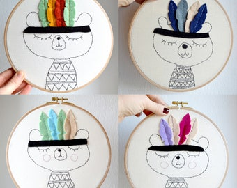 Personalized embroidery hoop/ wall art/ fiber art/Nursery decor/babygift/Native Bear/baby decor/children gift/ 8 inches/ made to order