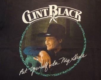 Vintage 90's Clint Black Country Singer Concert Tour Fan Black T Shirt Size XL