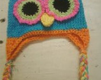 Bright eyed Ollie the owl crochet hat