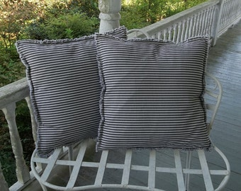 Custom Ticking Pillows Farmhouse Pillows Custom Pillow Shams Striped Pillows Pillow Cover  Country French Farmhouse Pillows