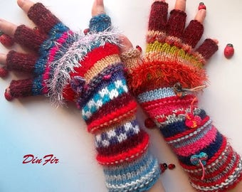 Women Size L 20% OFF Half Fingers Wool OOAK Ready To Ship Mittens Wrist Warmers Winter Arm Gloves Hand Knitted Gift Striped Multicolor 93