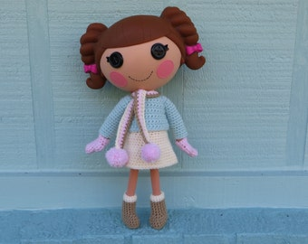Crochet Pattern for Lalaloopsy Doll Clothes Winter Sweater Skirt Scarf Mittens Boots PDF Instant Download