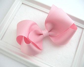 "Light Pink Bow, Pink Hair Bow, Toddler Hair Bow, Girls Hair Bows, Boutique Hair Bow, 4"" Hair Bow, Pastel Pink Hair Bow, Toddler Hair Clip"
