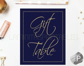 Navy and gold gift table sign, baby shower decor, table signs, baby shower table, gift table, baby shower girl, gold