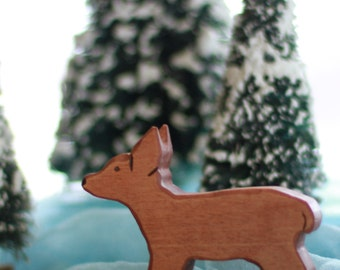 Woodland Fawn Wooden Toy - Natural Eco Friendly Waldorf Wood Deer Toy