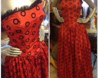 Valentine's Ball Gown 40's Vintage Red Taffeta Black Circle Dots Dress Sz S