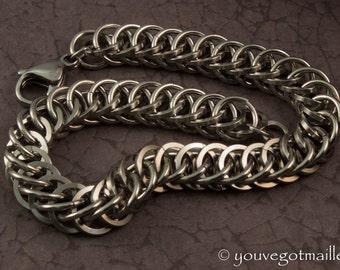 Mens Industrial Stainless Steel Chainmail Bracelet