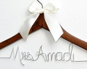 Bride hanger,Personalized Wedding dress hanger,Mrs hanger, Bridal Shower Gift,Personalized Bride Hanger,Personalized Custom Wedding Hanger,