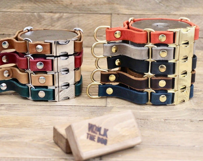 Martingale collar, Black dog collar, Leather dog collar, FREE ID tag, Handmade red collar, Martingale, Leather martingale collar.