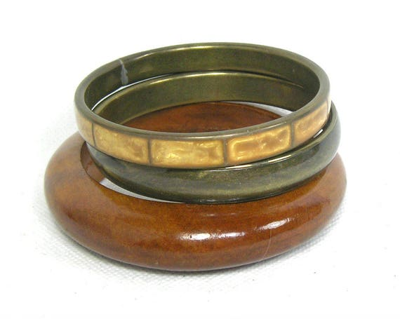 Vintage Set of Brass and Wood Bangles