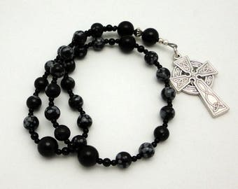 Snowflake Obsidian Protestant / Anglican Prayer Beads / Rosary with Celtic Cross